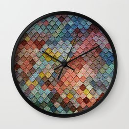 Colorful Mermaid Tiles Wall Clock