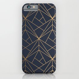 Navy blue Gold Geometric Pattern With White Shimmer iPhone Case