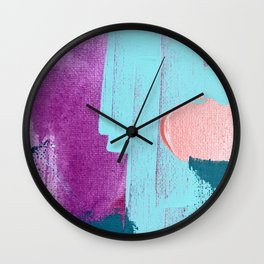 Joy [2]: a vibrant abstract design in purple, red, and teal by Alyssa Hamilton Art Wall Clock