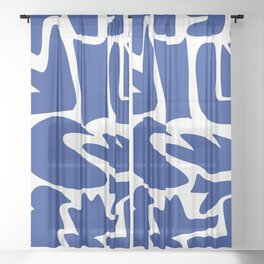 Blue shapes on white background Sheer Curtain