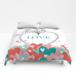 colorful love Comforters