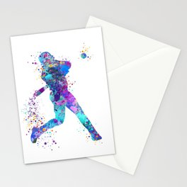 Blue Purple Baseball Boy Player Stationery Cards
