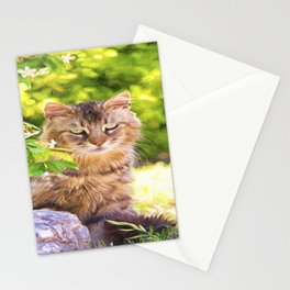 Watchful Cat Beauty Stationery Cards