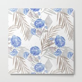 Blue flowers on a white background. Metal Print