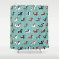 dachshund Shower Curtains featuring DACHSHUND by DoggieDrawings