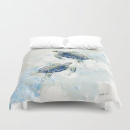 Swimming Together 2 - Sea Turtle  Duvet Cover