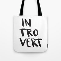 introvert Tote Bags featuring Introvert by Dead Language