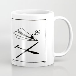 Ninja flies a Paper Plane Coffee Mug