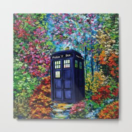 Tardis Flowers Painting Metal Print