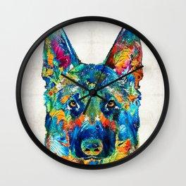 Colorful German Shepherd Dog Art By Sharon Cummings Wall Clock