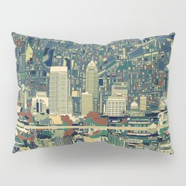 indianapolis city skyline green Pillow Sham