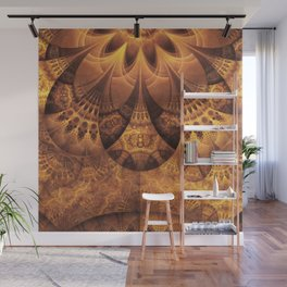 Beautiful Gold and Brown Honeycomb Fractal BeeHive Wall Mural