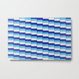 Staggered Oblong Rounded Lines Blues and White - Stripe Pattern Metal Print