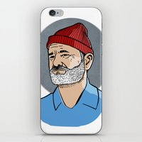 steve zissou iPhone & iPod Skins featuring Zissou by Max the Kid