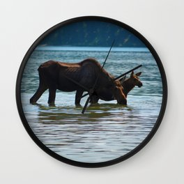 Mother moose and calf in Jasper National Park Wall Clock