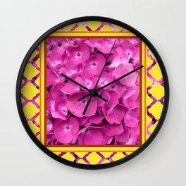 Yellow & Pink Flowers Trellis Art Wall Clock