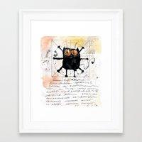 da vinci Framed Art Prints featuring Kot da Vinci by Katja Main