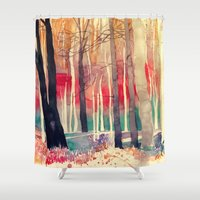 woods Shower Curtains featuring Woods by takmaj