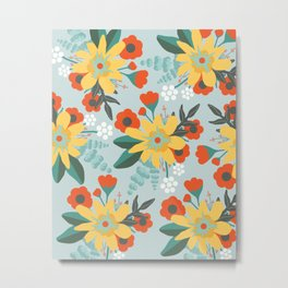 Seafoam Red and Yellow Floral Metal Print