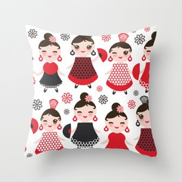 Seamless pattern spanish Woman flamenco dancer. Kawaii cute face with pink cheeks and winking eyes. Throw Pillow