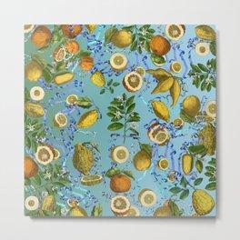 vintage lemons and oranges on ribbons of blue Metal Print