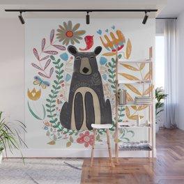 Folk Art Brown Bear Wall Mural