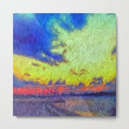 colorful sunset impressionist painting Metal Print