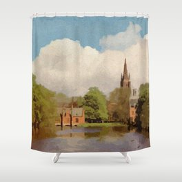 The Lake of Love Bruges art Shower Curtain