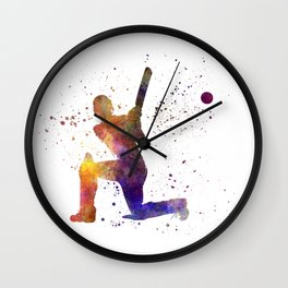 Cricket player batsman silhouette 08 Wall Clock