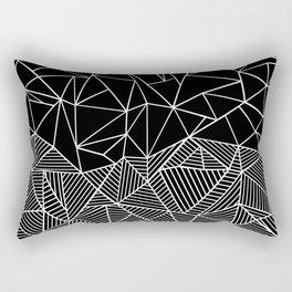 Ab Half and Half Black Rectangular Pillow