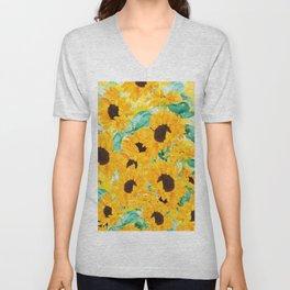 watercolor sunflower pattern 2019 Unisex V-Neck