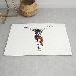Christ Wearing Rainbow LGBTQ Loincloth Isolated Rug