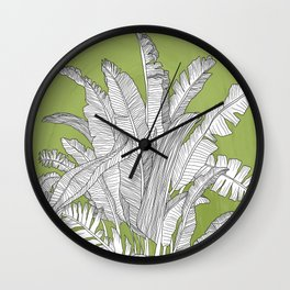 Banana Leaves Illustration - Green Wall Clock