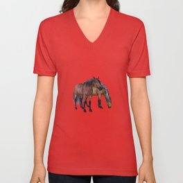 Horses in a misty dawn Unisex V-Neck