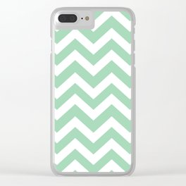 Turquoise green - green color - Zigzag Chevron Pattern Clear iPhone Case