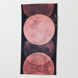 Pink Moon Phases Beach Towel