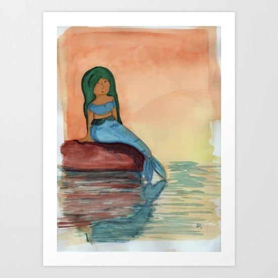 Sunset Mermaid Art Print
