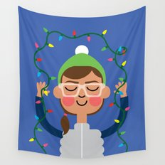 Holiday with Lights Wall Tapestry