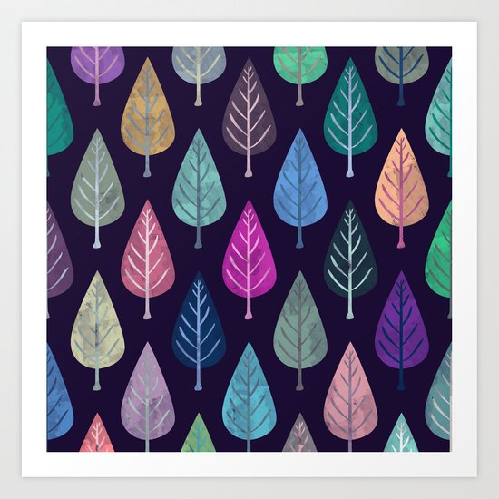 Watercolor Forest Pattern IV Art Print