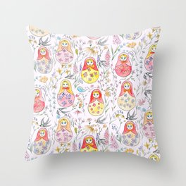 Russian dolls and flowers_ink and watercolor 3 Throw Pillow