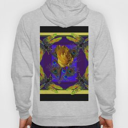 Gold Rose Peacocks Dragonflies Yellow Black Hoody