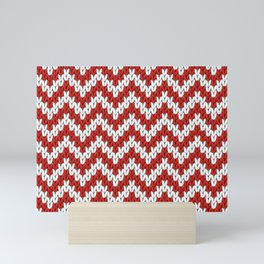Red Christmas knitted chevron, large scale Mini Art Print