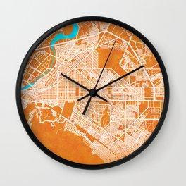 Torreón, Coahuila, Mexico, Gold, Blue, City, Map Wall Clock