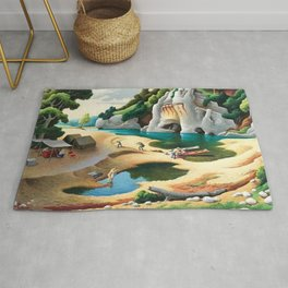 Classical Masterpiece 'Swimming Hole in American West' by Thomas Hart Benton Rug