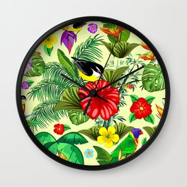 Birds and Nature Floral Exotic Seamless Pattern Wall Clock