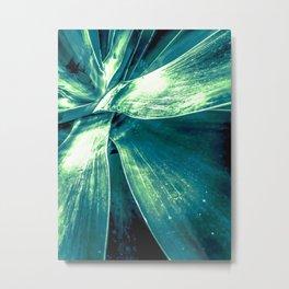 closeup green succulent leaves texture background Metal Print