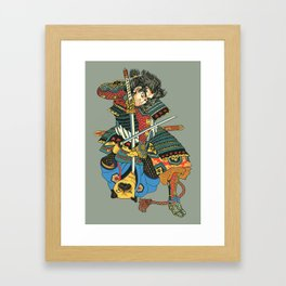 Samurai and Pug Framed Art Print