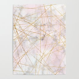 Gold and Pink Marble Crackle Poster