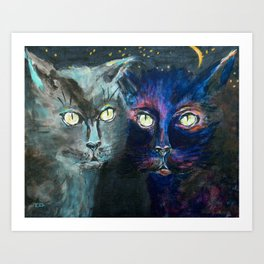 They Meet in the Night (Cats) Art Print
