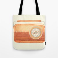 radio Tote Bags featuring Radio Silence by One Curious Chip